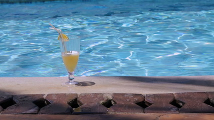 Cocktail standing in swimming pool
