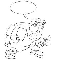 Monochrome outline cartoon burglar