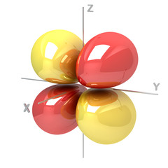 Shape of the 3Dyz M-1 atomic orbital on white background. Availa