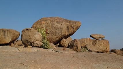 Balancing boulder in Hampi, India