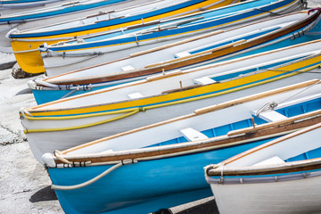 Colourful wooden boats at Marina Grande, Island of Capri, Italy