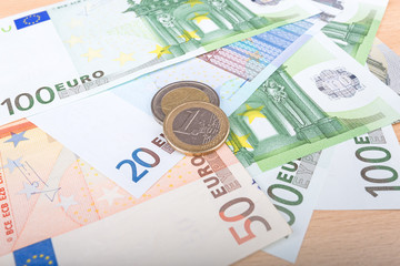 international money euro banknotes and coins