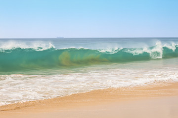 Seascape shore and wave
