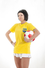 pretty model soccer fan in the studio