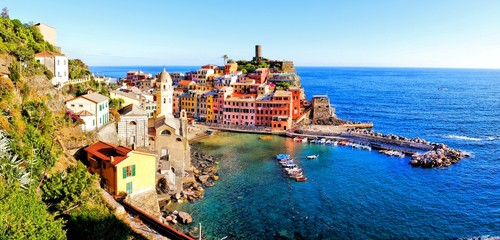 Panoramic of the Ccinque Terre village of Vernazza, Italy