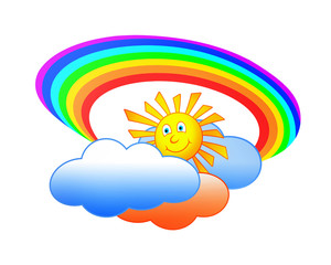 sun clouds and rainbow