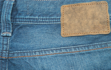 Leather  label on jeans.