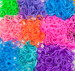 detail of colourful loom bands