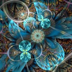 Symmetrical dark orange blue  fractal flower