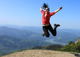 attractive active woman jumping