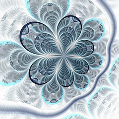 Symmetric colorful dark blue fractal flower,