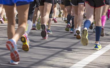 Anonymous Athletes Running a Marathon