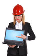 woman engineer holding laptop