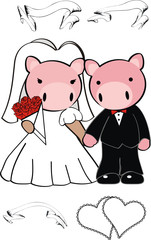 pig cartoon cute married vector