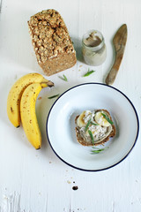 Rye wholegrain sandwich with nut butter and banana breakfast
