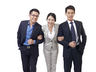 asian business team isolated on white