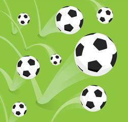 Group of bouncing soccer balls