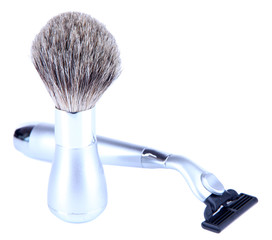 Shaving accessories isolated on white