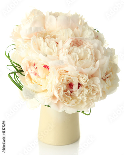 Obraz na Szkle Beautiful wedding bouquet in vase isolated on white