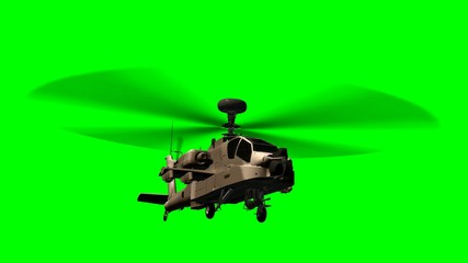 Military Helicopter Boeing AH-64 Apache in fly - green screen