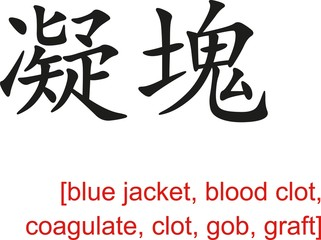 Chinese Sign for blue jacket, blood clot