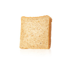 Close-up image of one slice of white bread against the white bac