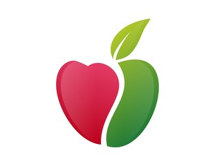 apple logo heart abstract symbol