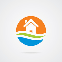Colorful home icon on white background