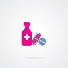 Bottle for medicines, pills and tablets. Eps-10.