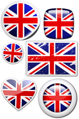 Set of stickers and buttons - Great Britain