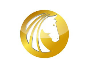 horse logo gold silhouette head symbol icon