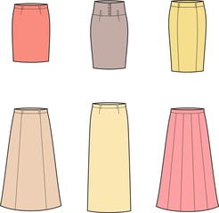 Vector illustration of women's skirts