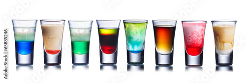 Poster Cocktail Colorful shot drinks