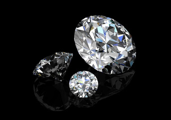 diamond on  black background (high resolution 3D image)