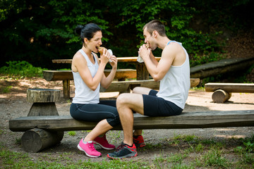 Eating together -  couple after jogging