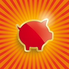 Golden Piggy Bank With Flag Retro Sun
