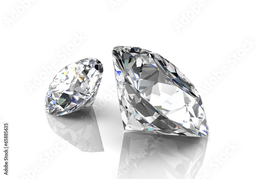 diamond on white background (high resolution 3D image) - 65885635