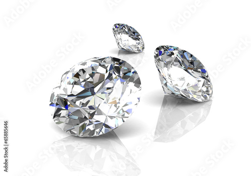 diamond on white background (high resolution 3D image) - 65885646