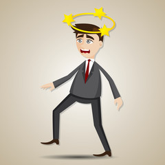 cartoon businessman confused with star on his head