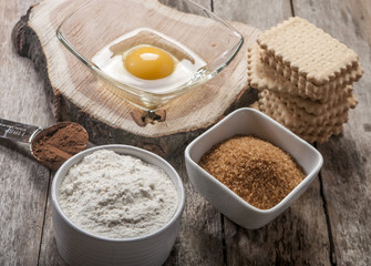Egg flour sugar baking products