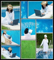 Collage of photos of women in the pool