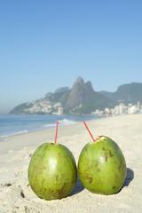Two Green Coconuts Ipanema Beach Rio Brazil