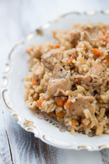 Close-up of pilaf with chicken, vertical shot