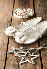 Small girl ball or party outfit with silver ballet shoes