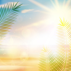 Tropical vintage palm background design.