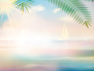 Untouched tropical beach design template.