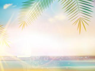 Palms on empty idyllic tropical sand beach.