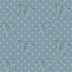 Seamless background tile in blue with cartoon butterflies