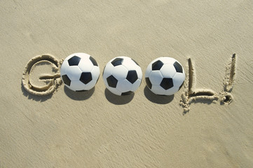 Football Soccer Goal Message Brazilian Sand