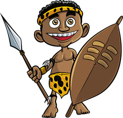 Cute cartoon zulu warrior